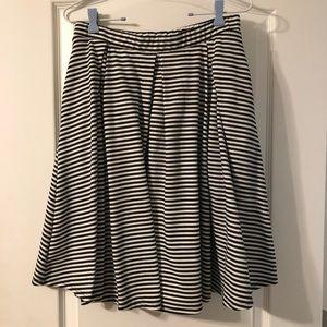 Black and white striped Lularoe Madison Skirt